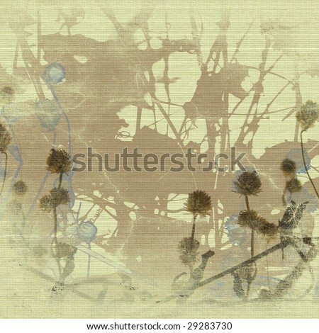 Grunge seed head and branch silhouette art print on canvas with copy space - stock photo