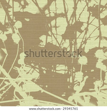 Grunge seed head and branch silhouette print on canvas with copy space - stock photo