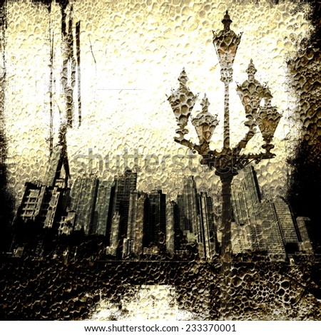 Grunge sepia city skyline with old street lamp - stock photo