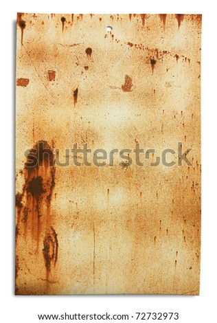 grunge signboard, old sheet of rusty iron, dirty empty metallic banner for sign and inscription, isolated with clipping path - stock photo