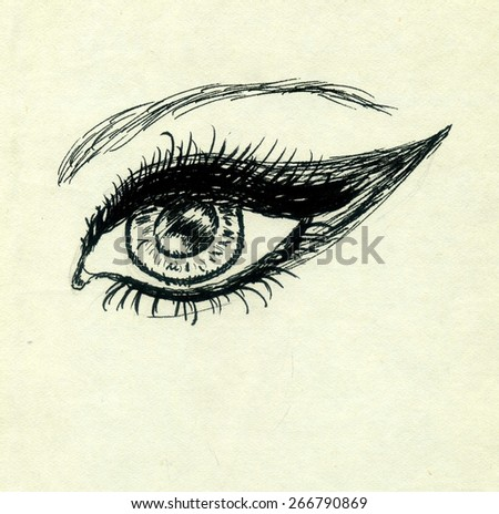 Grunge sketch of a human eye on yellow paper background.