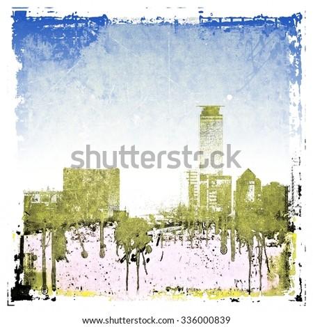 Grunge skyline city background - stock photo