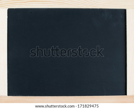 Grunge small blackboard hanging on wooden wall as a background for your message - stock photo