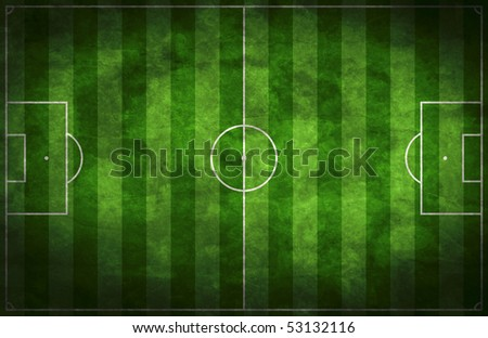 Grunge soccer field - stock photo