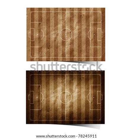 Grunge soccer ( football ) field  recycled paper craft stick on white background - stock photo
