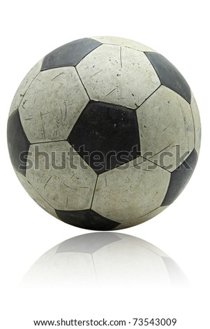 grunge soccer football with its reflection on white - stock photo