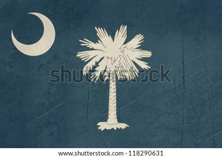 Grunge South Carolina state flag of America, isolated on white background. - stock photo