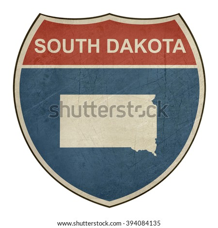 Grunge South Dakota American interstate highway road shield isolated on a white background. - stock photo