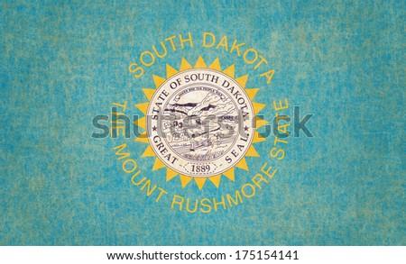 Grunge South Dakota state Flag - stock photo