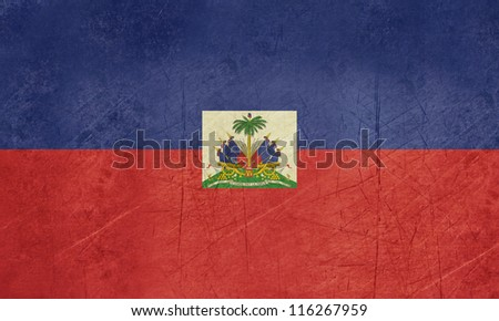 Grunge sovereign state flag of country of Haiti n in official colors.