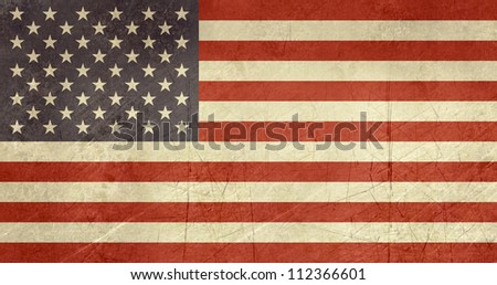 Grunge sovereign state flag of country of United States of America in official colors. - stock photo