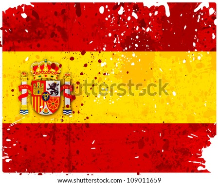 Grunge Spain flag with stains - flag series