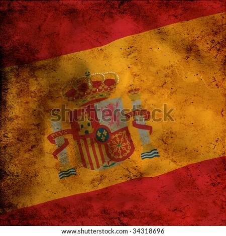 Grunge Spanish flag - stock photo