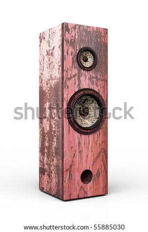 Grunge speaker/box isolated on white background - stock photo