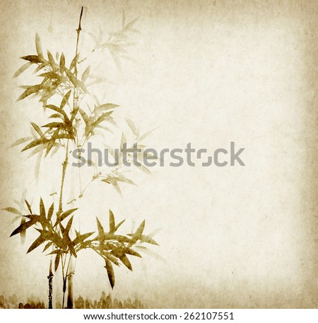 Grunge Stained Bamboo Paper Background - stock photo