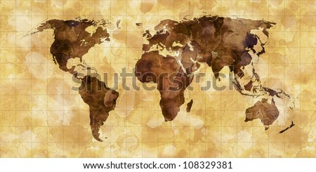 grunge stained map of the world on old paper - stock photo