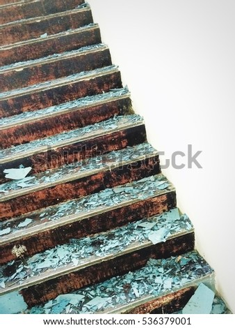 Grunge stair in repair