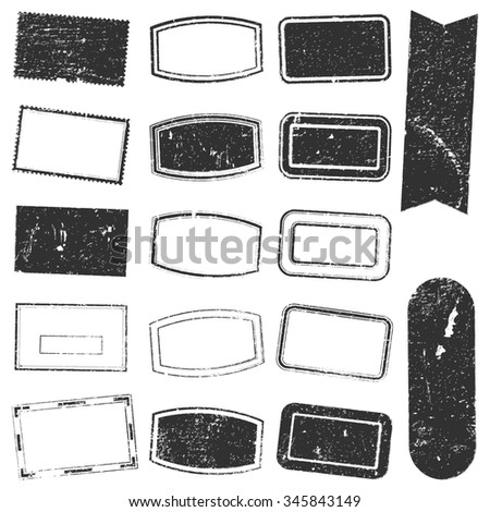Grunge stamp mockups set of grunge overlay rectangle stamp texture for your design. - stock photo