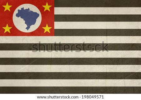 Grunge state flag of Sao Paulo in Brazil.  - stock photo