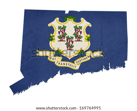 Grunge state of Connecticut flag map isolated on a white background, U.S.A.  - stock photo