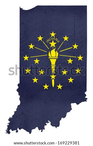 Grunge state of Indiana flag map isolated on a white background, U.S.A. - stock photo