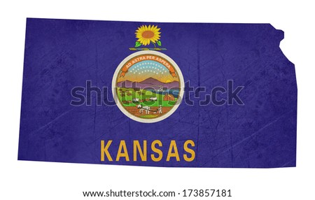 Grunge state of Kansas flag map isolated on a white background, U.S.A.