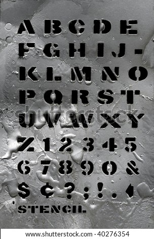 Grunge stencil alphabet so you can compose your message - stock photo