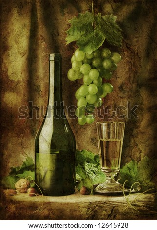 Grunge still life with white wine - stock photo