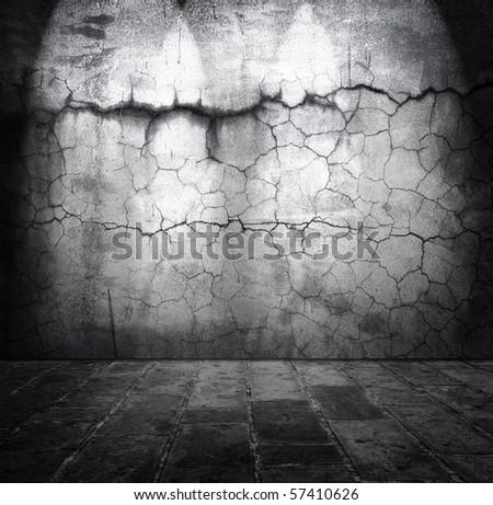 Grunge stone room - stock photo