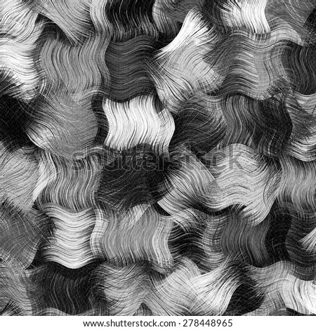 Grunge striped and checkered brush background in black and white colors - stock photo