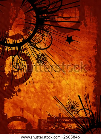 Grunge style background with ornate decoration - stock photo