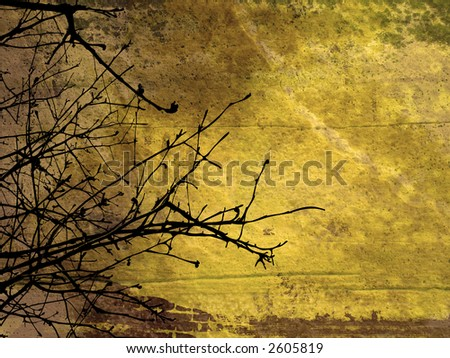Grunge style background with tree branches