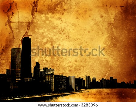 Grunge style background with view of chicago - stock photo