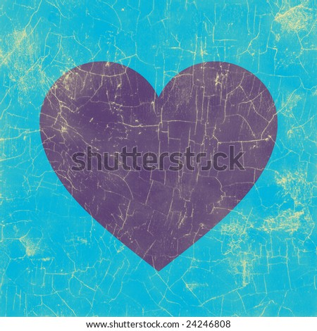 Grunge style: crackled purple heart with blue background