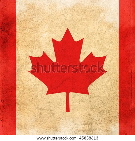 grunge style flag of canada - stock photo