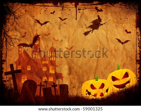 Grunge style Halloween background - stock photo