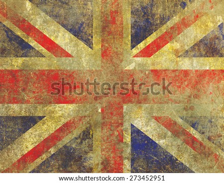 Grunge style illustration of a badly damaged, faded and worn UK Union Jack flag with an old, fading paint on concrete appearance. - stock photo