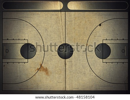 Grunge style illustration of a basketball court - stock photo