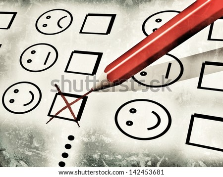 grunge-style illustration of a red pencil used to fill a customer satisfaction form, with notches on checkboxes with smileys, referring to concepts such as customer satisfaction survey and evaluations