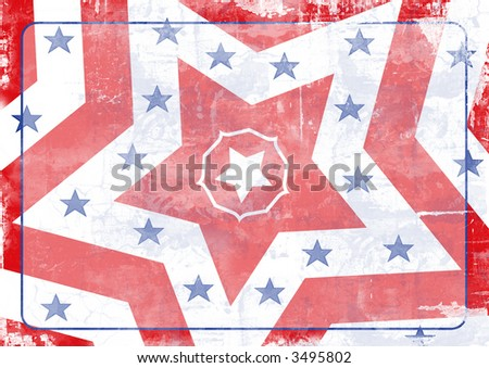 Grunge style illustration of stars and stripes