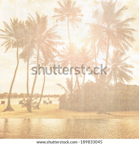 Grunge style photo of beautiful tropical beach, palm trees in bright sun light, exotic nature, summer holiday and vacation concept - stock photo