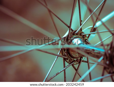 Grunge style retro artistic style close-up on a bicycle front wheel, great background or texture