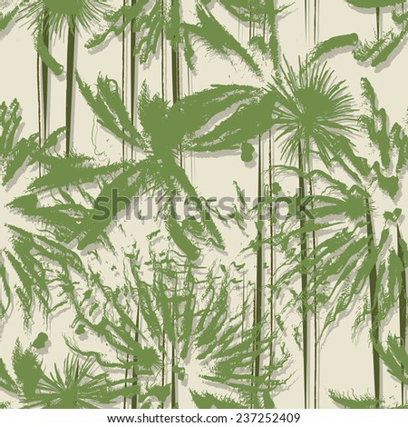 Grunge style seamless pattern with palm trees forest - stock photo