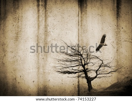 Grunge style textures with stains and tree and bird - stock photo