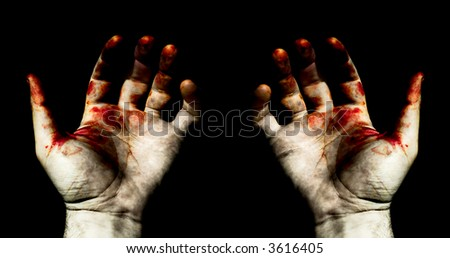 Grunge styled image - hands in blood, isolated from the background - stock photo