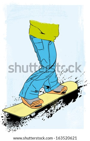 grunge styled snowboarder illustration - stock photo