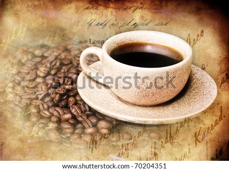 Grunge styled still-life with coffee - stock photo