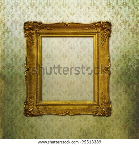 Grunge stylized faded Victorian wallpaper with golden vintage em - stock photo