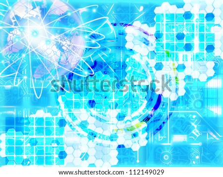 Grunge technology background - stock photo