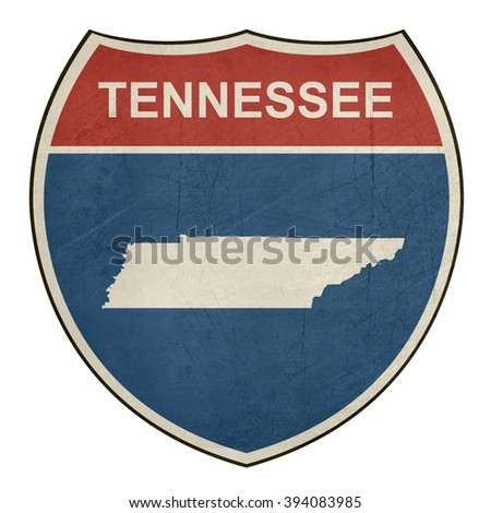 Grunge Tennessee American interstate highway road shield isolated on a white background. - stock photo